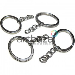 Набор металлических колец для ключей и брелков, 2.7 x 3.5 см. с цепочкой 3.3 см., 4 штуки, REGINA