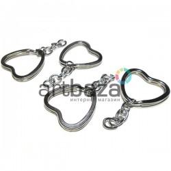 Набор металлических колец для ключей и брелков, ∅3.2 см. с цепочкой 3.3 см., 4 штуки, REGINA