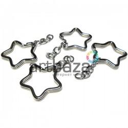 Набор металлических колец для ключей и брелков, ∅3.3 см. с цепочкой 3.3 см., 4 штуки, REGINA