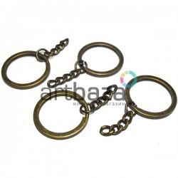 """Набор металлических колец """"античная латунь"""" для ключей и брелков, ∅2.7 см. с цепочкой 2.7 см., 4 штуки, REGINA"""