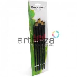 Набор скошенных синтетических кистей для рисования акриловыми и масляными красками, 5 штук, Royal-Art