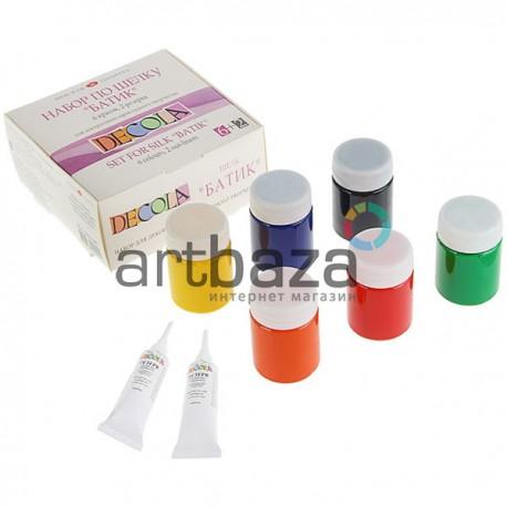 Набор акриловых красок по шелку, 6 цветов по 50 мл., + 2 резерва по шелку смываемых по 18 мл., DECOLA ● 4441448 ● 4690688000445