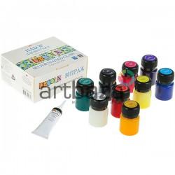 Набор акриловых красок для витража, 9 цветов по 20 мл., + 1 контур в тубе на 18 мл., Decola