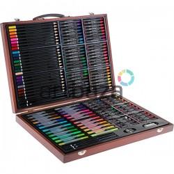 Подарочный набор для рисования в деревянном чемоданчике, 127 предметов
