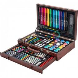 Подарочный набор для рисования в деревянном чемоданчике, 122 предмета