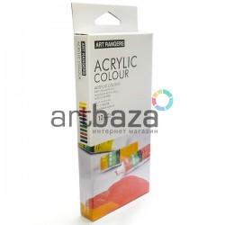 Набор художественных акриловых красок, 12 цветов по 6 мл. + кисть, Art Rangers