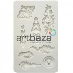 Силиконовый молд 3D, вензель Trifles, размер 19 x 12 см., толщина 1 см., REGINA ● Молд силиконовый для рукоделия и творчества