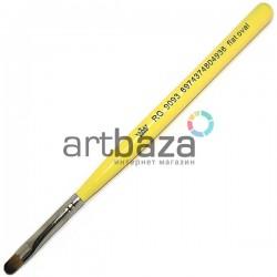 Кисть синтетическая Artdeco, flat oval, REGINA на короткой деревянной ручке ● Кисти для макияжа, маникюра и дизайна ногтей