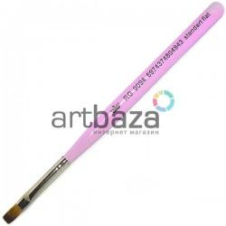 Кисть синтетическая Artdeco, standart flat, REGINA на короткой деревянной ручке ● Кисти для маникюра, росписи и дизайна ногтей