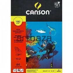 Блок цветного картона, А4, 10 листов, 180 г/м², Canson