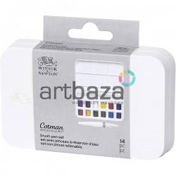Набор художественных акварельных красок в пластиковом пенале, 12 цветов + кисть, Winsor & Newton ● 0390658 ● 884955053683