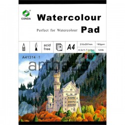 Альбом - склейка бумаги для акварели, 210 x 297 мм., 180 гр./м²., 18 листов, CONDA