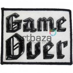 Нашивка - патч для одежды, Game Over, 6.9 x 8.7 см.