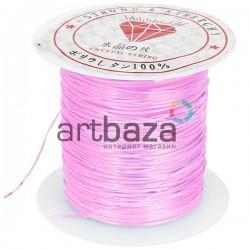 Эластомерная нить (эластичная нить) силиконовая, розовая бледная, Ø0.8 мм., 10 метров