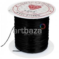 Эластомерная нить (эластичная нить) силиконовая, черная, Ø0.8 мм., 10 метров
