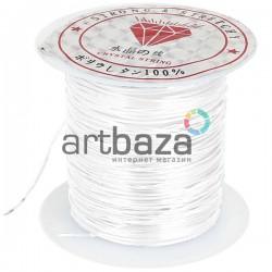 Эластомерная нить (эластичная спандекс нить) силиконовая, белая, Ø0.8 мм., 10 метров | Эластомерные нити купить недорого
