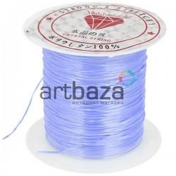 Эластомерная нить (эластичная нить) силиконовая, голубая бледная, Ø0.8 мм., 10 метров