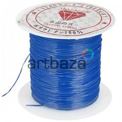 Эластомерная нить (эластичная спандекс нить) силиконовая, голубая, Ø0.8 мм., 10 метров | Эластомерная нить для бисероплетения