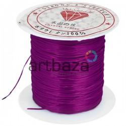 Эластомерная нить (эластичная нить) силиконовая, фиолетовая, Ø0.8 мм., 10 метров