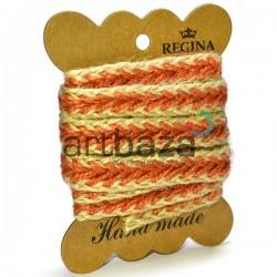 Джутовая тесьма (веревка шпагат), плетеная натуральная оранжевая, ширина - 1.5 см., толщина - 2 мм., длина - 1.5 м., REGINA