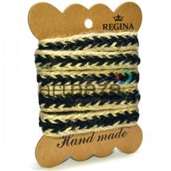 Джутовая тесьма (веревка шпагат), плетеная натуральная черная, ширина - 1.5 см., толщина - 2 мм., длина - 1.5 м., REGINA
