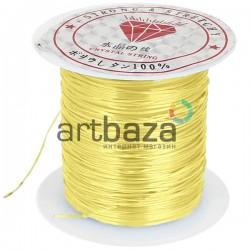 Эластомерная нить (эластичная спандекс нить) силиконовая, желтая, Ø0.8 мм., 10 метров | Купить силиконовую нить для браслетов