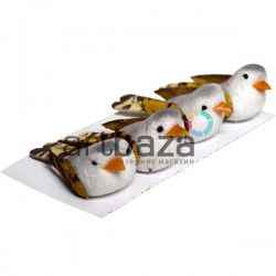 Набор декоративных птичек - голубей для декора, серых пятнистых, 1.5 x 2.8 см., 4 штуки, REGINA