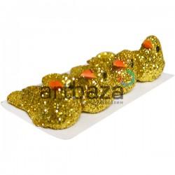 Набор декоративных птичек - голубей с блестками для декора, золотых 1.5 x 2.8 см., 4 штуки, REGINA