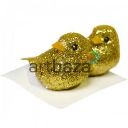 Набор декоративных птичек - голубей с блестками для декора, золотых, 3 x 5 см., 2 штуки, REGINA