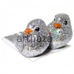 Набор декоративных птичек - голубей с блестками для декора, серебряных, 3 x 5 см., 2 штуки, REGINA