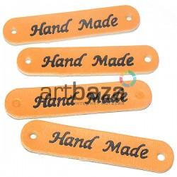 """Набор декоративных бирок (нашивок, лейбл, табличек) """"Hand Made"""" оранжевых под кожу, 5 x 1 см., 4 штуки, REGINA"""