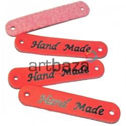"""Набор декоративных бирок (нашивок, лейбл) """"Hand Made"""" красных под кожу, 5 x 1 см., 4 штуки, REGINA"""