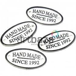 """Набор декоративных бирок (нашивок, лейбл) """"Hand Made"""" белых под кожу, 3.5 x 1.8 см., 4 штуки, REGINA"""