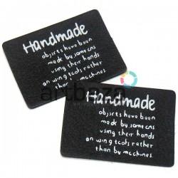 """Набор декоративных бирок (нашивок, лейбл) """"Hand Made"""" черных под кожу, 4.1 x 3 см., 2 штуки, REGINA"""