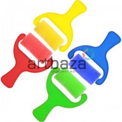 Набор цветных поролоновых валиков - губок (кистей), 70 мм., 4 штуки, KeepSmiling