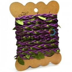 Шнур декоративный фиолетовый с вплетенными зелеными листьями, толщина - 2 см., длина - 2.5 м., REGINA