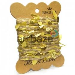 Джутовый шпагат натуральный с вплетенными золотыми листьями, толщина - 2 см., длина - 2.5 м., REGINA