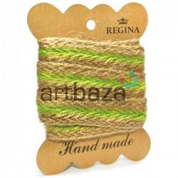 Джутовая тесьма (веревка шпагат), плетеная натуральная салатовая, ширина - 2 см., толщина - 2 мм., длина - 1 м., REGINA