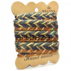 Джутовая тесьма (веревка шпагат), плетеная натуральная трехцветная, ширина - 1.7 см., толщина - 3 мм., длина - 1.5 м., REGINA