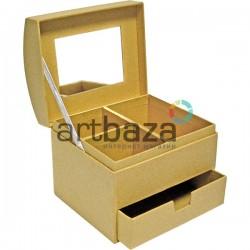 Шкатулка для украшений с зеркалом и шухлядой из крафтового картона, 12 х 10 х 10.5 см.