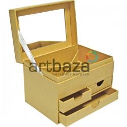 Шкатулка для украшений с зеркалом и шухлядами из крафтового картона, 13 х 9 х 8.8 см.