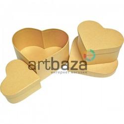 """Набор подарочных коробок из крафтового картона """"Сердце"""", 14.5 х 12.5 х 7.3 см., 10.5 х 9.7 х 5.8 см., 9.5 х 8.5 х 4.4 см."""