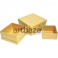 """Набор подарочных коробок из крафтового картона """"Квадрат"""", 10.5 х 10.5 х 5.6 см., 9.5 х 9.5 х 4.7 см., 7.5 х 7.5 х 3.7 см."""
