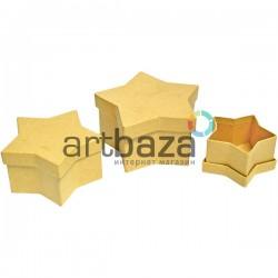 """Набор подарочных коробок из крафтового картона """"Звезда"""", 10.5х 9 х 5.7 см., 9 х 7.5 х 4.8 см., 7 х 6 х 3.8 см."""