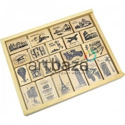 Набор резиновых штампов для скрапбукинга на деревянной оснастке, 21 штука