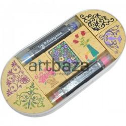 Набор резиновых штампов для скрапбукинга на деревянной оснастке, 7 штук + 4 краски