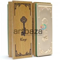 """Резиновый декоративный штамп для штампинга в скрапбукинге на деревянной оснастке, """"Ключ"""", Fun&Joy"""
