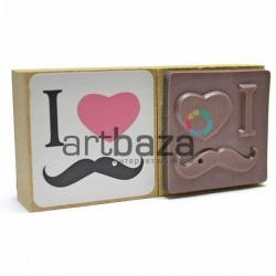 """Резиновый штамп для скрапбукинга на деревянной оснастке, """"I ♥ Mustache"""", Fun&Joy"""