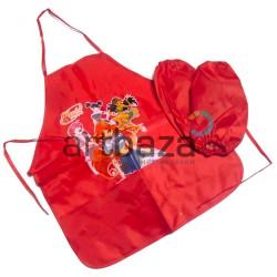 Фартук с нарукавниками детский 52 x 44 см., размер нарукавников 23 х 15 см., Maries для девочек красного цвета