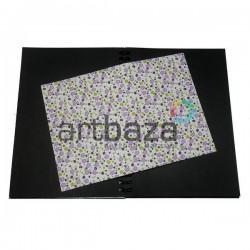 Тканевая бумага на клеевой основе (Fabric Sticker), сиреневые ромашки на белом фоне, 210 х 295 мм.